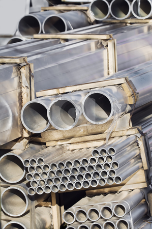 Pipes stock photo, Stack of pipes used in construction industry by Massimiliano Leban