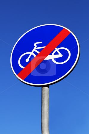 Bike road ending stock photo, Signal indicating the end of a bike road by Massimiliano Leban