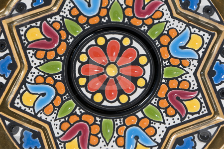 Pattern stock photo, Coloured decoration on a pottery plate by Massimiliano Leban