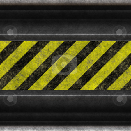 Hazard stripes steel stock photo, A grunge background featuring hazard stripes and aged steel.  Plenty of copy space, and this image even tiles seamlessly as a pattern. by Todd Arena