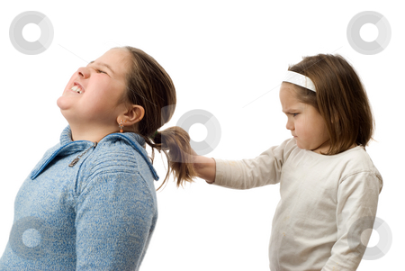 Mean Little Sister stock photo, A mean little girl pulling on her older sister's hair, isolated against a white background by Richard Nelson