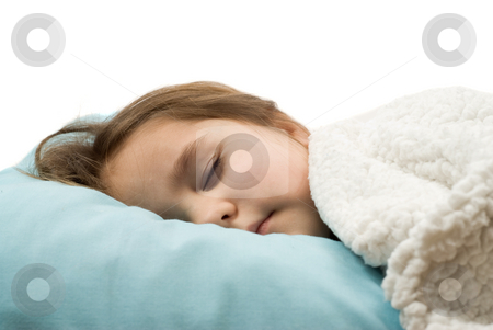 Sleeping Soundly stock photo, A little girl sleeping soundly in her bed, isolated against a white background by Richard Nelson