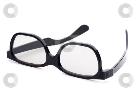 Black eye-glasses with tinted lenses stock photo, Black eye-glasses with tinted lenses on a white background by Vince Clements