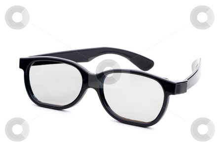 Black eye-glasses on a white background stock photo, Black eye-glasses with tinted lenses on a white background by Vince Clements