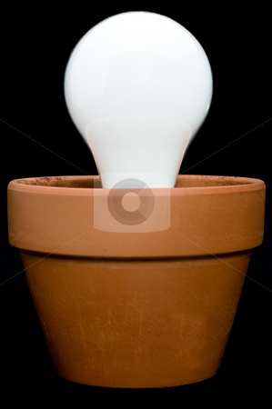 Incandescant bulb in a planter stock photo, A glowing incandescant bulb in a planter by Vince Clements