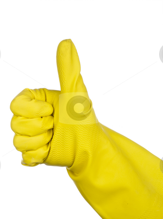 A hand in a yellow rubber glove giving the Thumbs up sign stock photo, A hand in a yellow rubber glove giving the Thumbs up sign by Vince Clements
