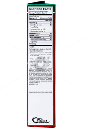 A nuttrition label on a box of crackers on a white background stock photo, A nuttrition label on a box of crackers on a white background by Vince Clements