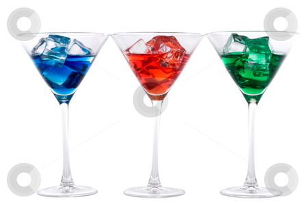 Blue, red and green martini drinks side by side stock photo, Blue, red and green martini drinks side by side by Vince Clements