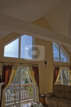 A Frame Interior stock photo, Interior detail of a modern A-frame style contemporary home. by Todd Arena