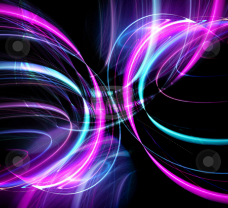 Glowing Disco Lights stock photo, An abstract fractal design over a dark background. by Todd Arena