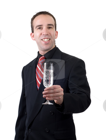 Cheers stock photo, A young groom celebrating his marriage, isolated against a white background by Richard Nelson