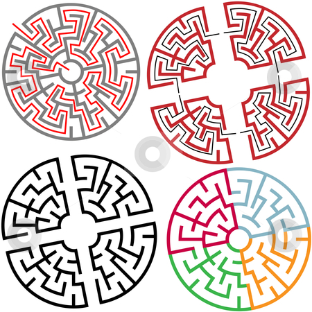 Circle and Arc Maze Puzzle Parts with solution stock vector