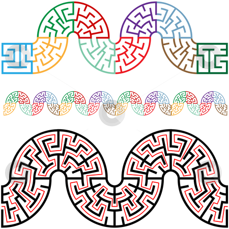 Winding Mazes in Arc Sections for Borders Frames stock vector