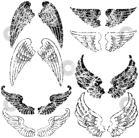 Grunge Angel Wings stock vector clipart, Eight Pairs of Grunge Angel Wings by Adrian Sawvel