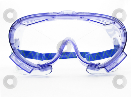 Purple goggles stock photo, Purple goggles on a white background with strap by John Teeter