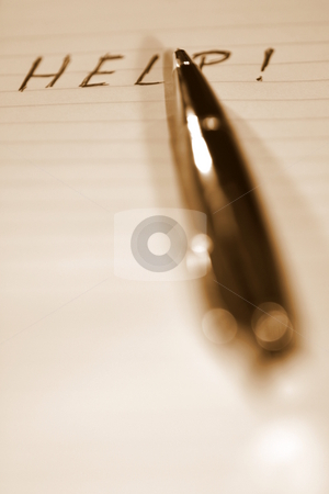 Pen Help Sepia stock photo, Pen with the word HELP written on a paper. by Henrik Lehnerer