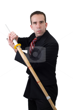 Bamboo Sword stock photo, A samarai wearing civilian clothing, weilding a bamboo practice sword, isolated against a white background by Richard Nelson