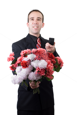Will You Marry Me stock photo, A young man asking someone to marry him, isolated against a white background by Richard Nelson