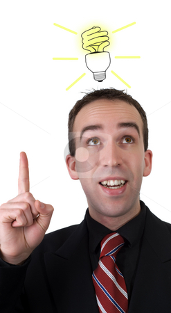 Bright Idea stock photo, A young man wearing a suit with a fluorescent light bulb over his head, isolated against a white background by Richard Nelson