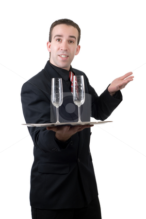 Male Waiter stock photo, A male waiter holding a silver tray with two empty wine glasses, isolated against a white background by Richard Nelson
