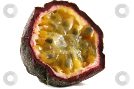 Passionfruit 2 stock photo, Freshly harvested passionfruit cut in half. by Brett Mulcahy