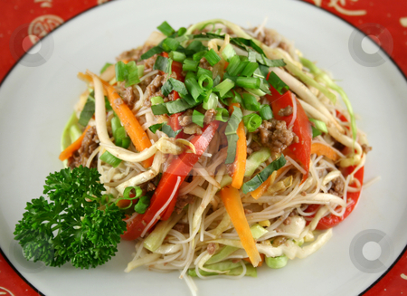 Beef Chow Mein stock photo, Stirfry beef chow mein with fresh Chinese vegetables. by Brett Mulcahy
