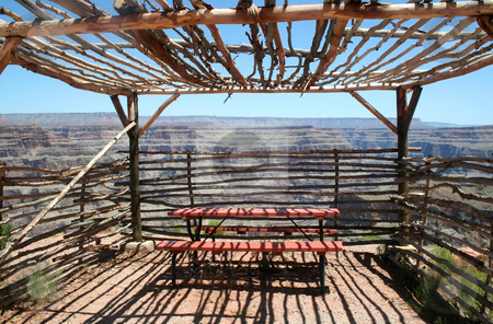 Observation Shelter Grand Canyon stock photo, Observation shelter built by the Indians at Guano Point on the West Rim Grand Canyon. by Brett Mulcahy