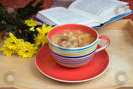 Comforting stock photo, A large cup with soup on a tray by Paul Phillips