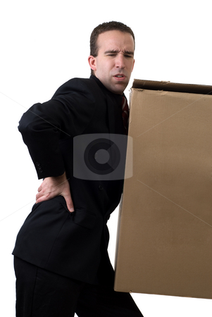 Businessman With Injured Back stock photo, A young businessman hurt his back after trying to lift something to heavy, isolated against a white background by Richard Nelson