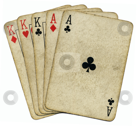 Full house aces and Kings vintage poker cards isolated over white. stock photo, Full house aces and Kings vintage poker cards isolated over white. by Stephen Rees
