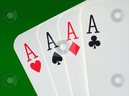 4 aces poker cards close up. stock photo, 4 aces poker cards close up. by Stephen Rees