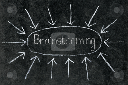 Arrows pointing at Brainstorming circled on a blackboard. stock photo, Arrows pointing at Brainstorming circled on a blackboard. by Stephen Rees