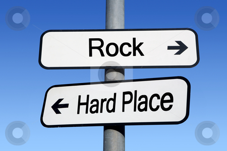 Between a rock and a hard place. stock photo, Between a rock and a hard place. by Stephen Rees