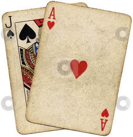 Blackjack vintage dirty cards isolated over white. stock photo, Blackjack vintage dirty cards isolated over white. by Stephen Rees