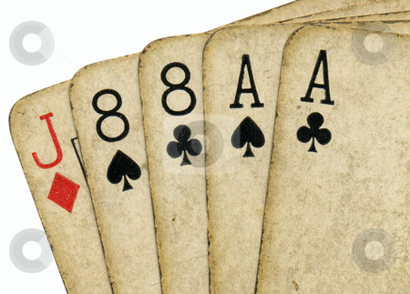 Close up of aces and eights, the dead mans hand. stock photo, Close up of aces and eights, the dead mans hand. by Stephen Rees