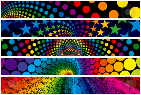 Rainbow Web Banners stock vector clipart, Five Rainbow Web Banners. Layered .eps file for easy editing by Adrian Sawvel