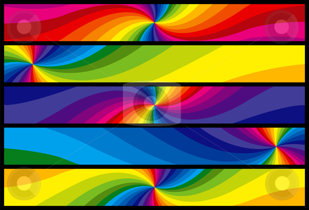Rainbow Web Banners stock vector clipart, Rainbow Web Banners. Layered .eps file for easy editing by Adrian Sawvel