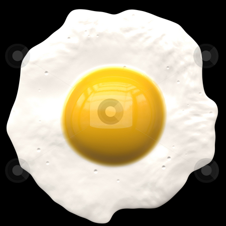 Fried egg stock photo, A fried egg illustration - isolated over black. by Todd Arena