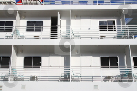 Balcony Partitions stock photo, Small cruise ship balcony partitions by Jack Schiffer