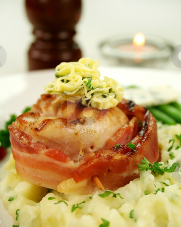 Fillet Chicken Mignon stock photo, Chicken fillet mignon on parsley mashed potato with green beans. by Brett Mulcahy