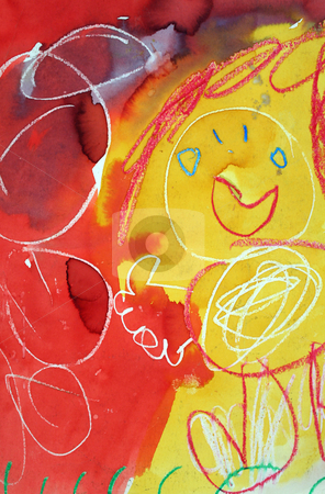 Child's Play Background 1 stock photo, Child's ramblings with paint and cyayon. by Brett Mulcahy