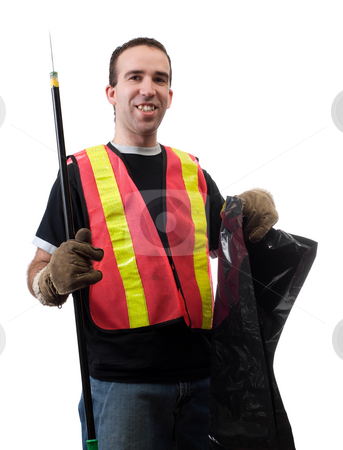 Garbage Picker stock photo, Garbage picker is cleaning up the streets with a poking stick and a bag, isolated against a white background by Richard Nelson