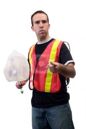 Garbage stock photo, A young worker picking up garbage and pointing at the camera, isolated against a white background by Richard Nelson