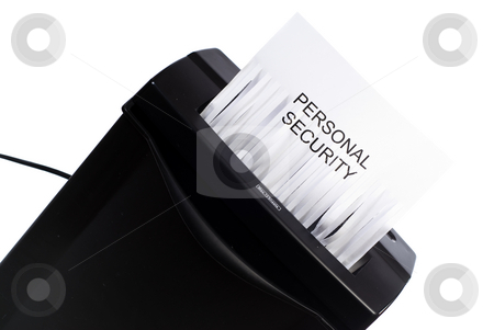 Personal Security stock photo, A concept image of your personal security being shredded or destroyed by Richard Nelson