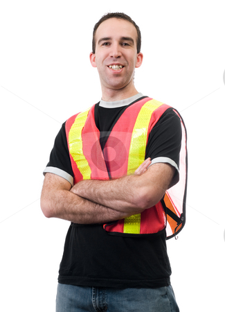 Happy Volunteer stock photo, A smiling young man wearing a reflective vest, isolated against a white background by Richard Nelson