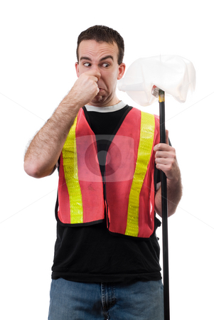 Smelly Garbage stock photo, Worker holding his nose because of the smell of old garbage, isolated against a white background by Richard Nelson