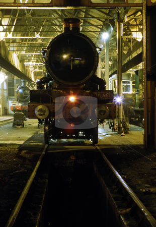 Old home stock photo, Vintage steam train at night by Paul Phillips