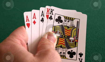 Great hand stock photo, A great pojer hand with aces and kings by Tim Markley
