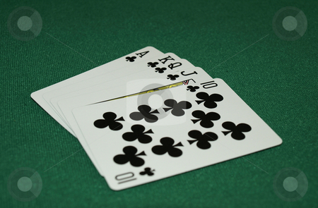 The big hand stock photo, The big hand with an ace high club straight by Tim Markley