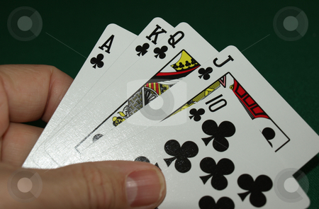 Great hand stock photo, Great hand with ace high straight by Tim Markley